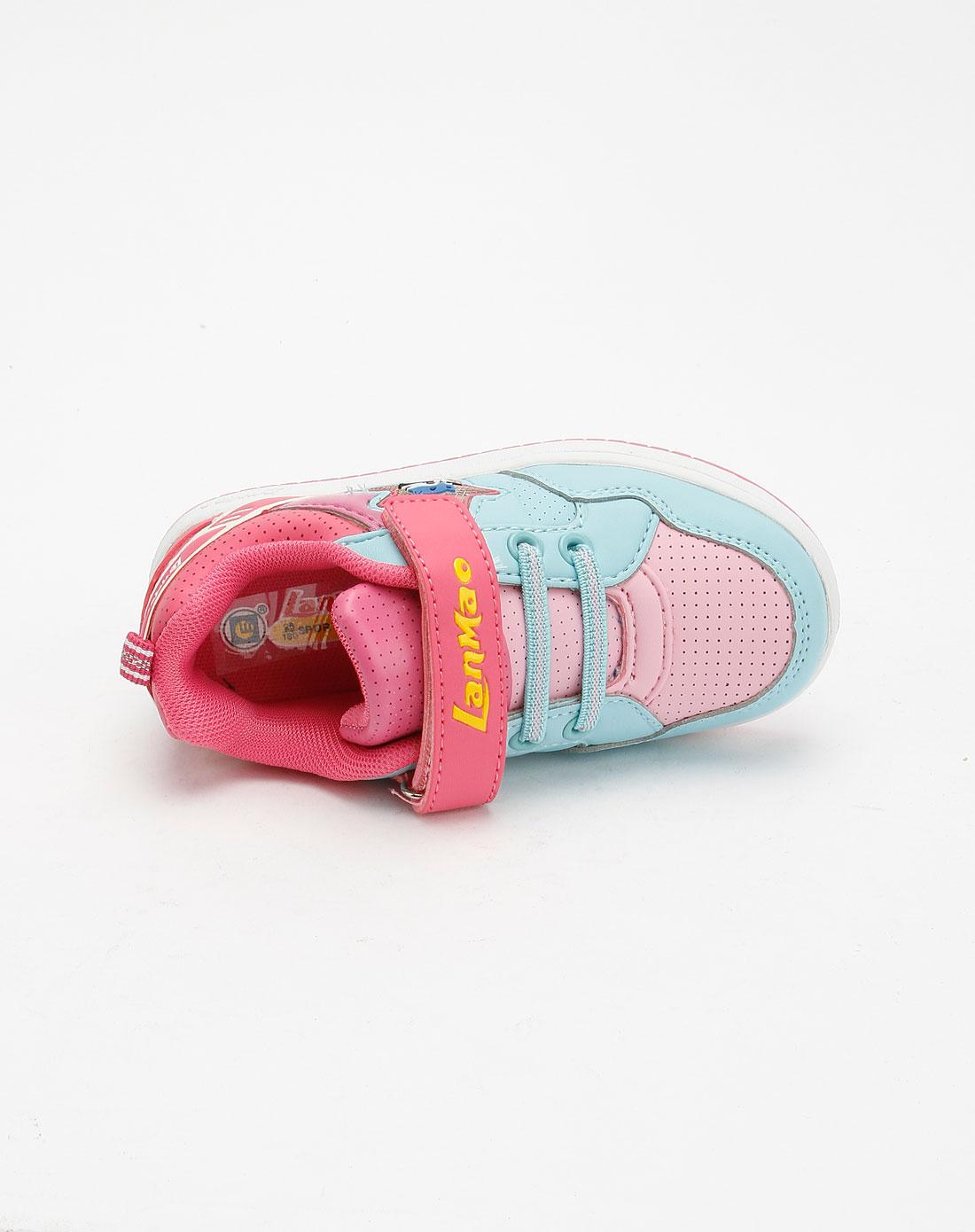 蓝猫lanmao男女童鞋女童玫红/粉蓝色时尚休闲鞋