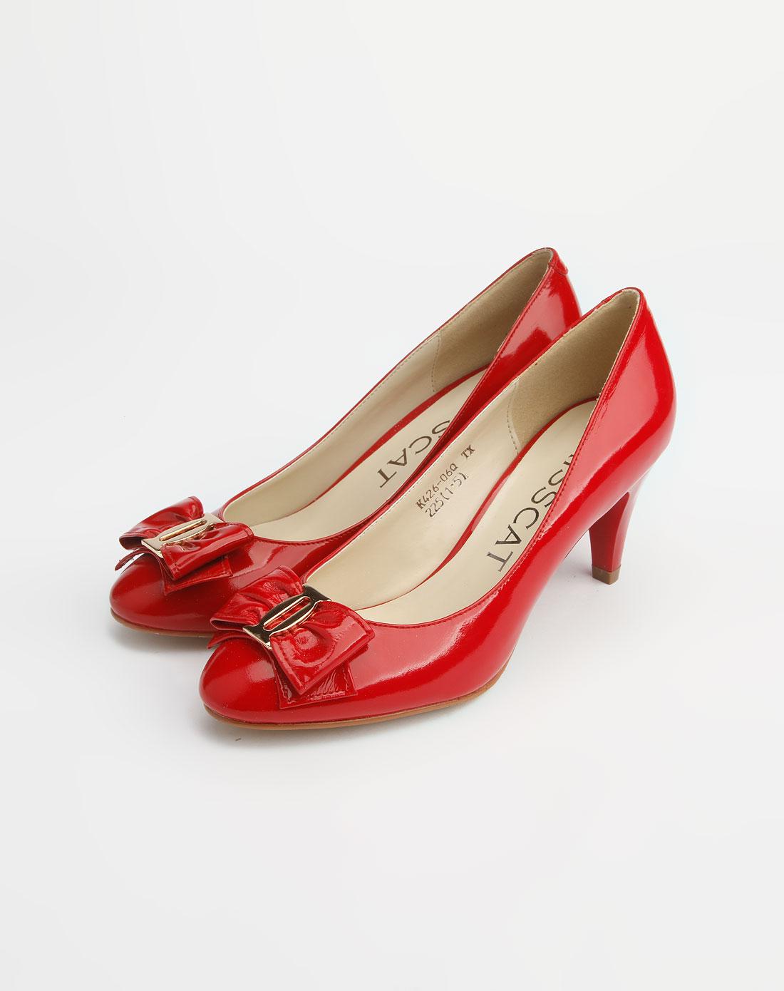 红色蝴蝶结高跟单鞋_kisscat官网特价1.5-3.5折