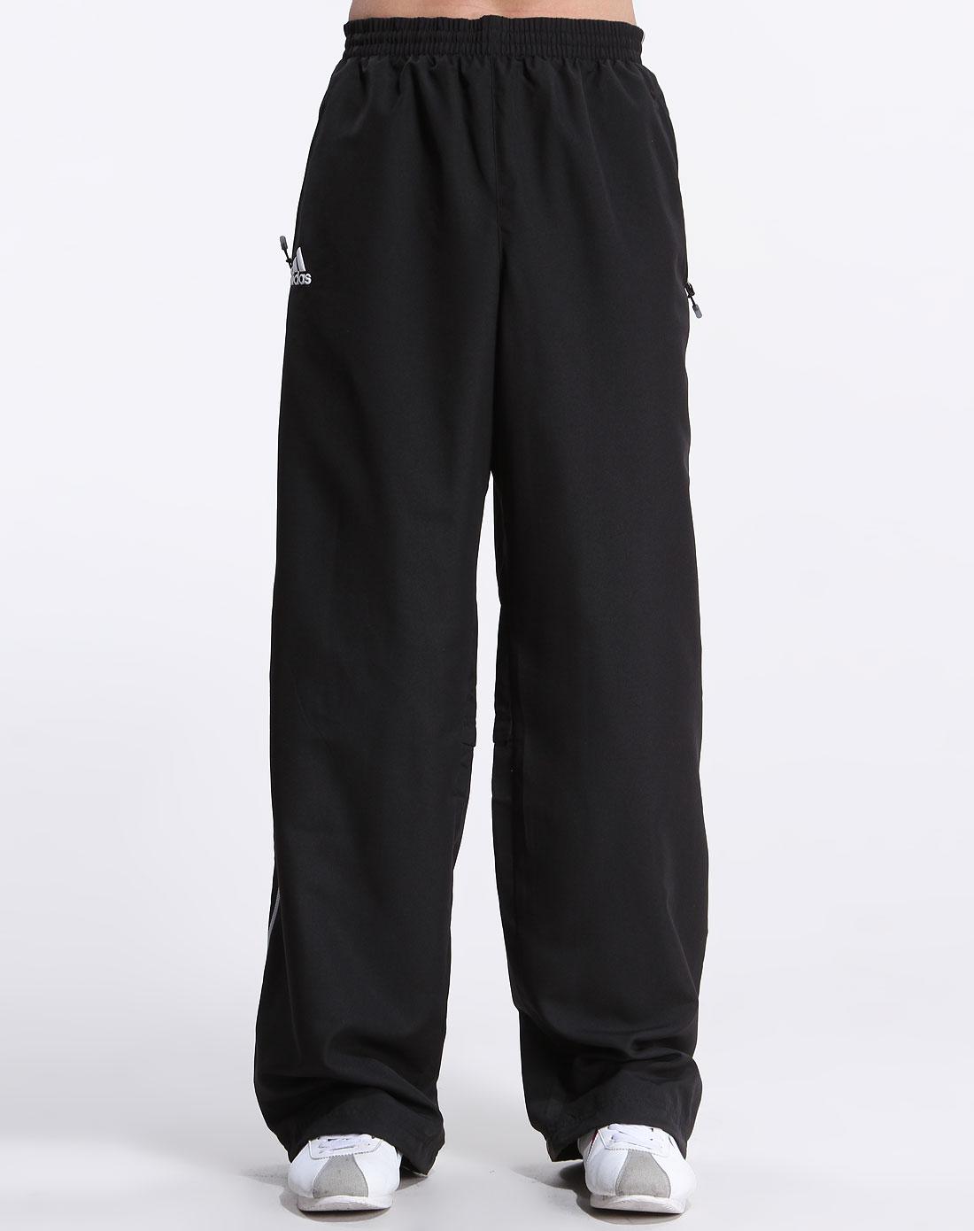 黑色运动条纹长裤