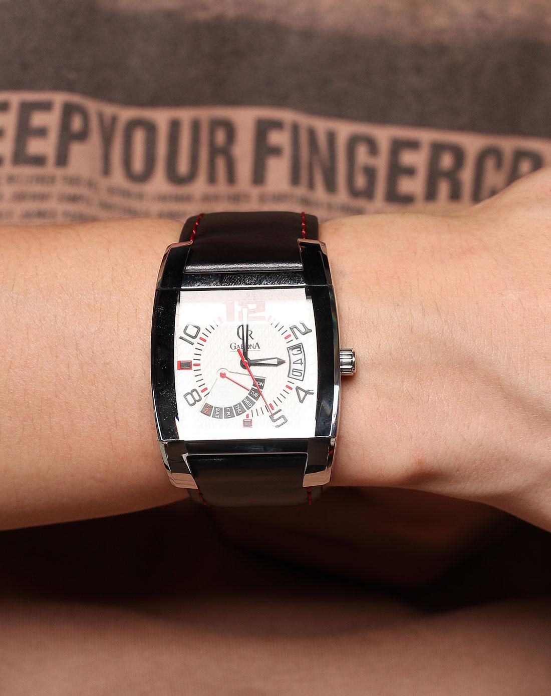 男款白 黑色方形手表 GARONA ESPRIT GRUEN手表专场特价4.5折图片