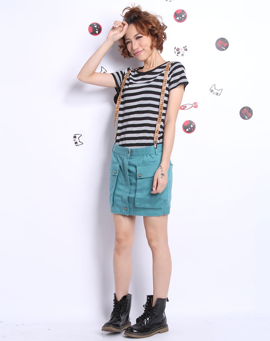 a02女装_a02女装专场-绿色时尚背带短裙