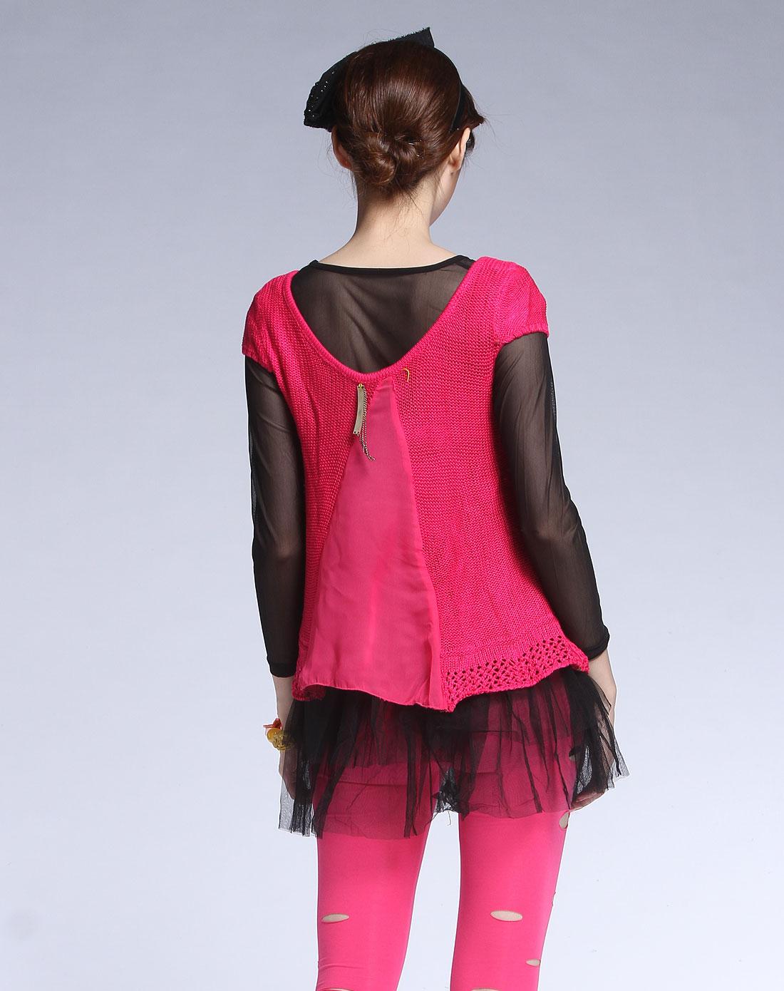 shish玫红色休闲长袖针织衫两件套