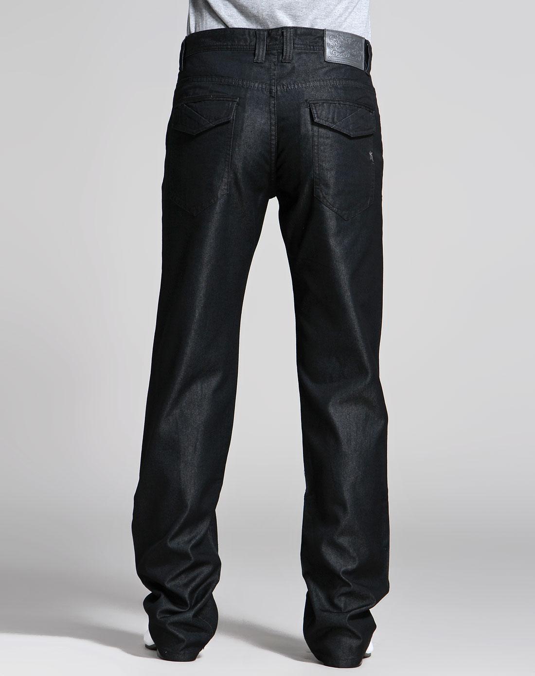马克华菲 黑色中腰时尚牛仔长裤