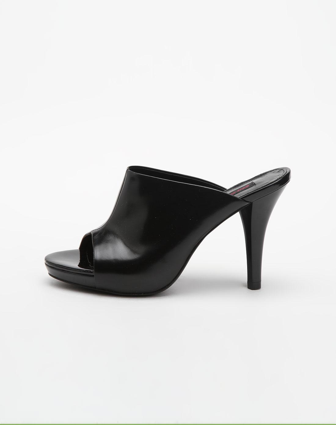 黑色水晶牛皮高跟凉鞋
