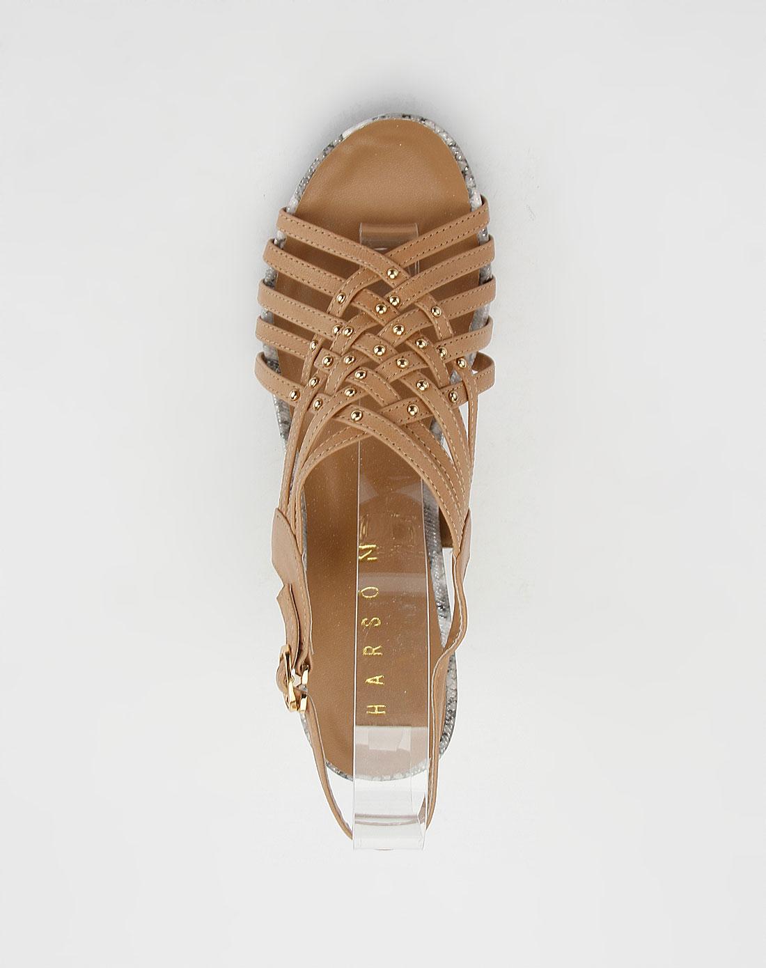 哈森harson女鞋专场-女款浅棕色时尚高跟凉鞋