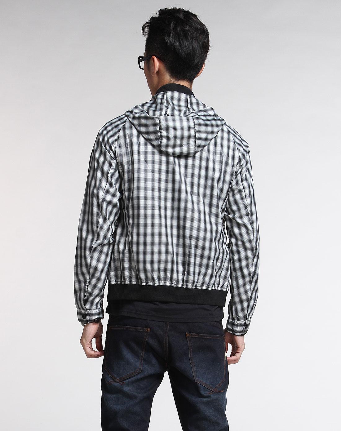 黑白色时尚格子休闲连帽长袖外套