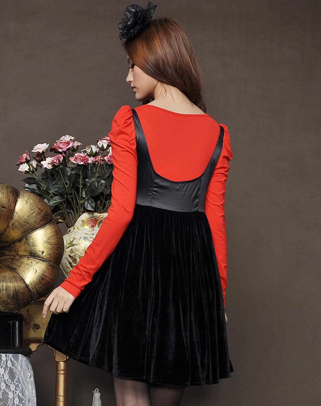 女款红色唯美可爱黑蝴蝶结式拼接连衣裙