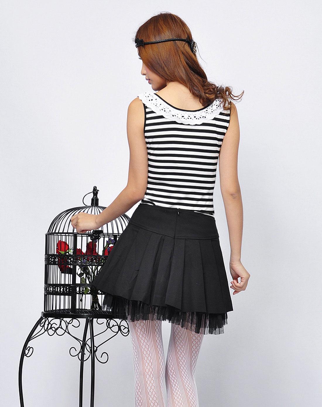 贝茜bessie女装专场女款黑色黑色蝴蝶结百褶短裙子