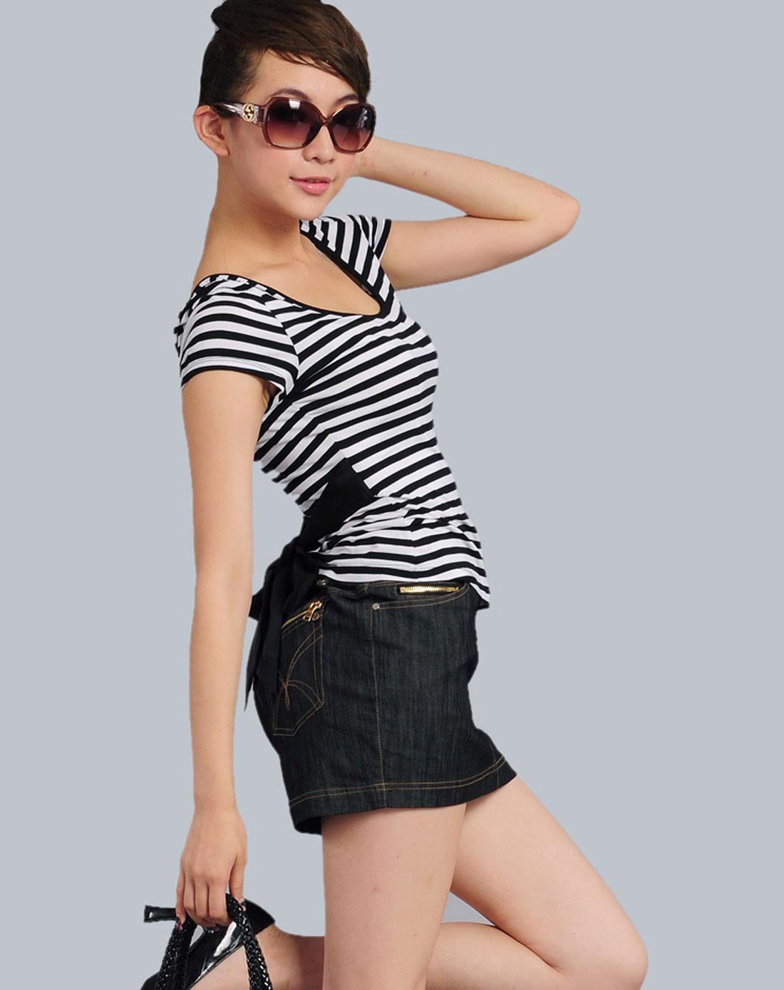 女款黑白条学院气质条纹飘带修身短袖t恤