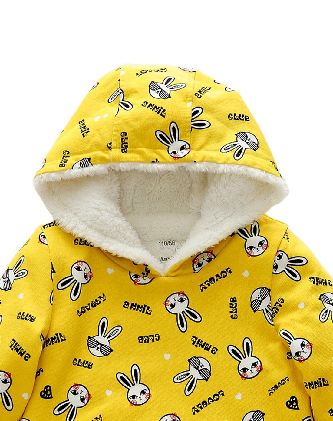 安奈儿annil男女童装混合专场女童黄色可爱小兔连帽长款长袖上衣