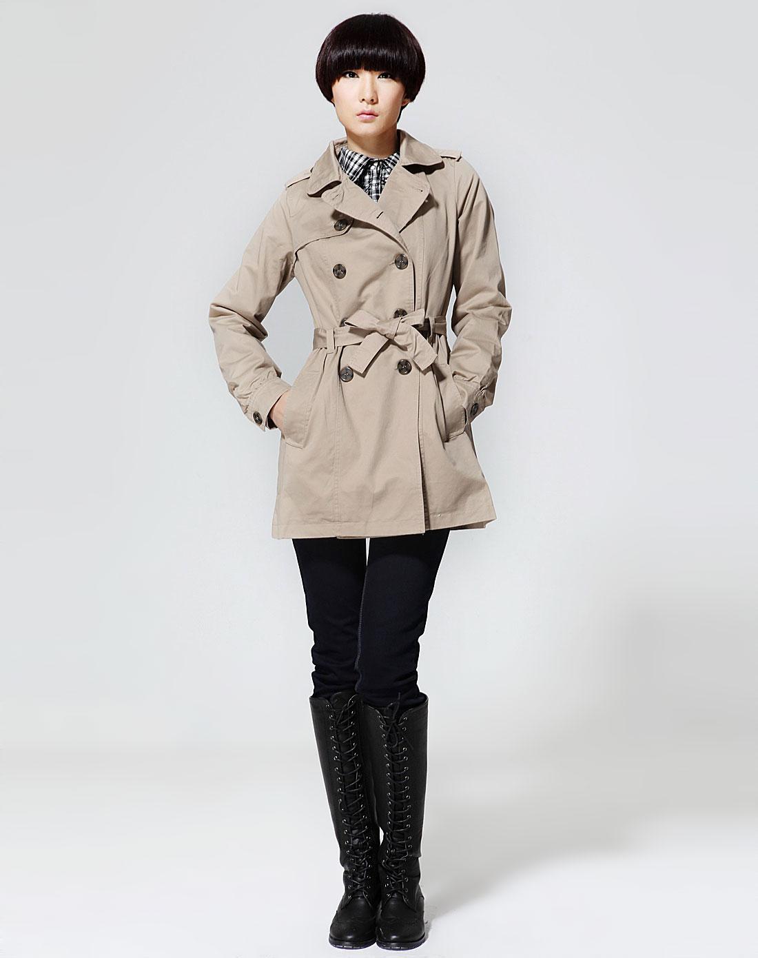 唐狮tonlion深卡其色双排扣休闲长款长袖外套