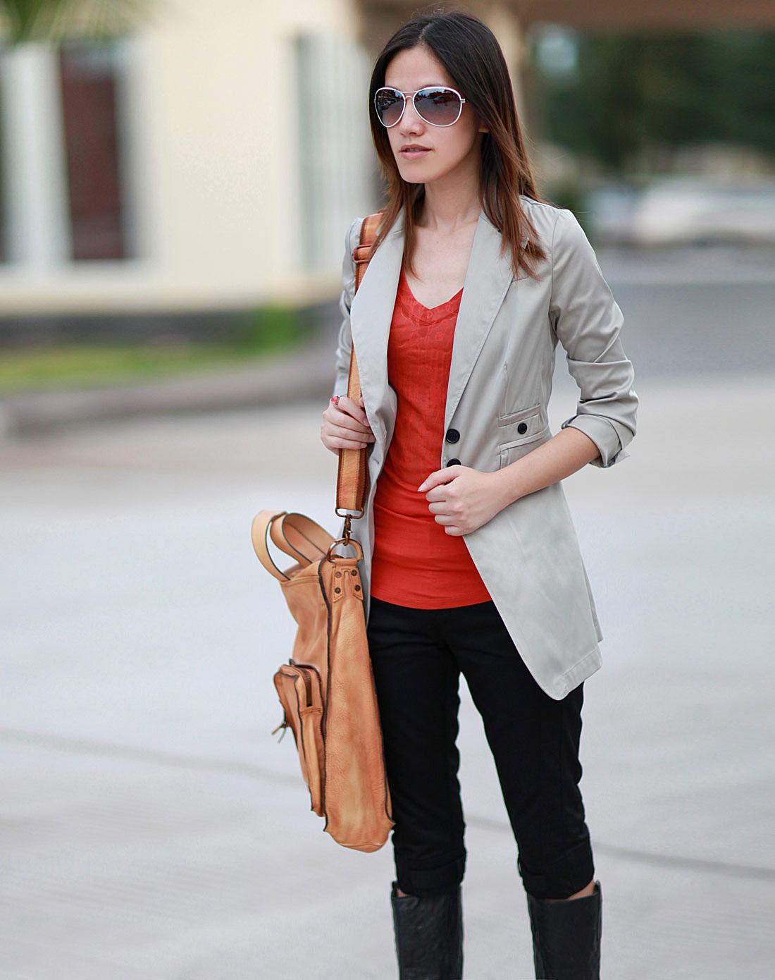 艾米amii卡其色休闲长袖西装外套11110063270