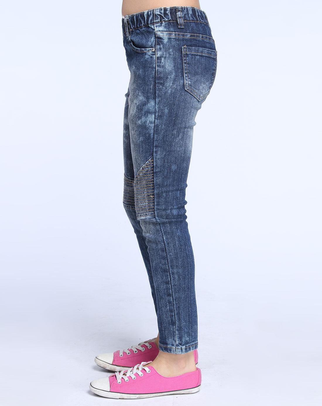 蓝色车线牛仔长裤