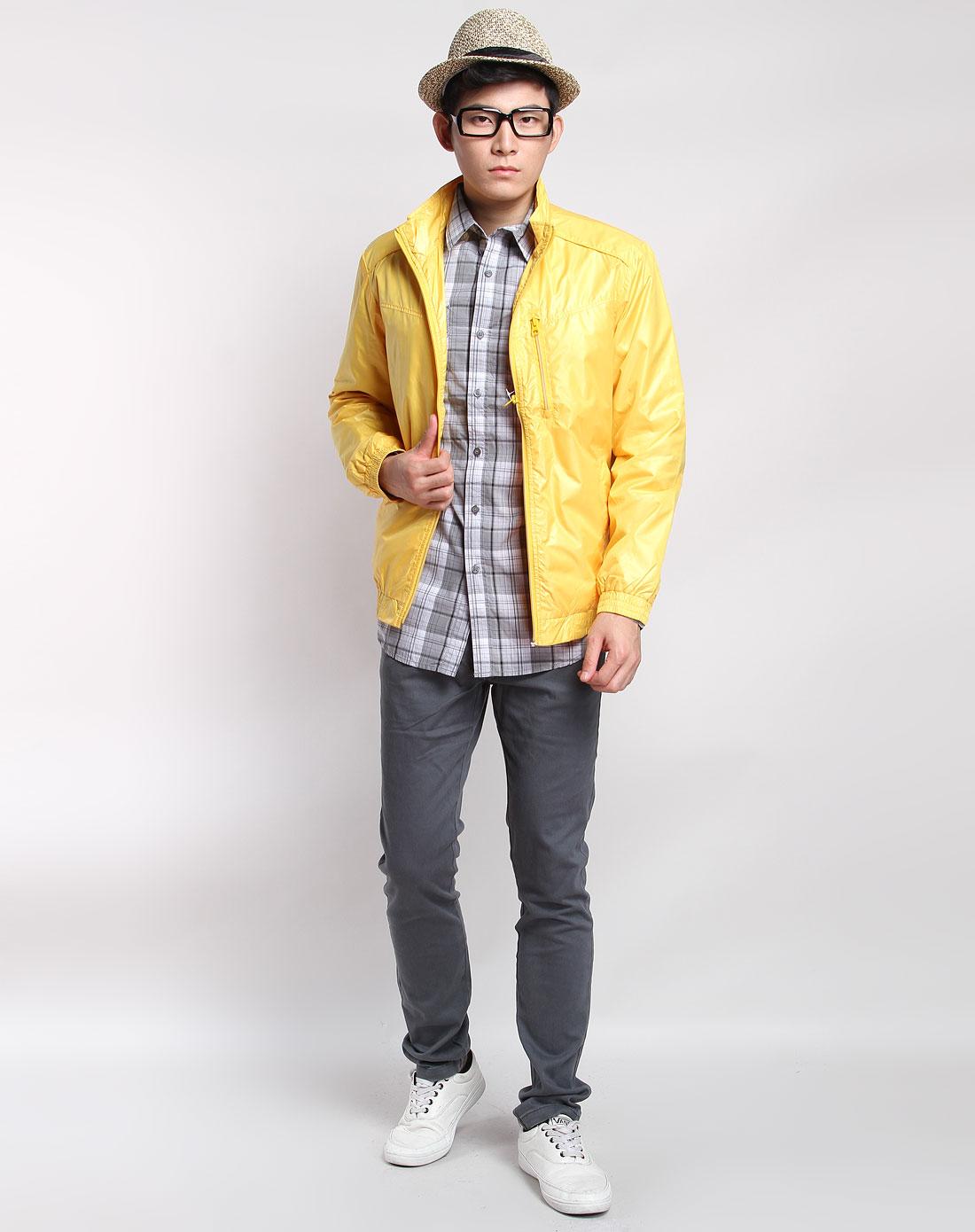 森马男装专场-黄色休闲简约长袖外套图片
