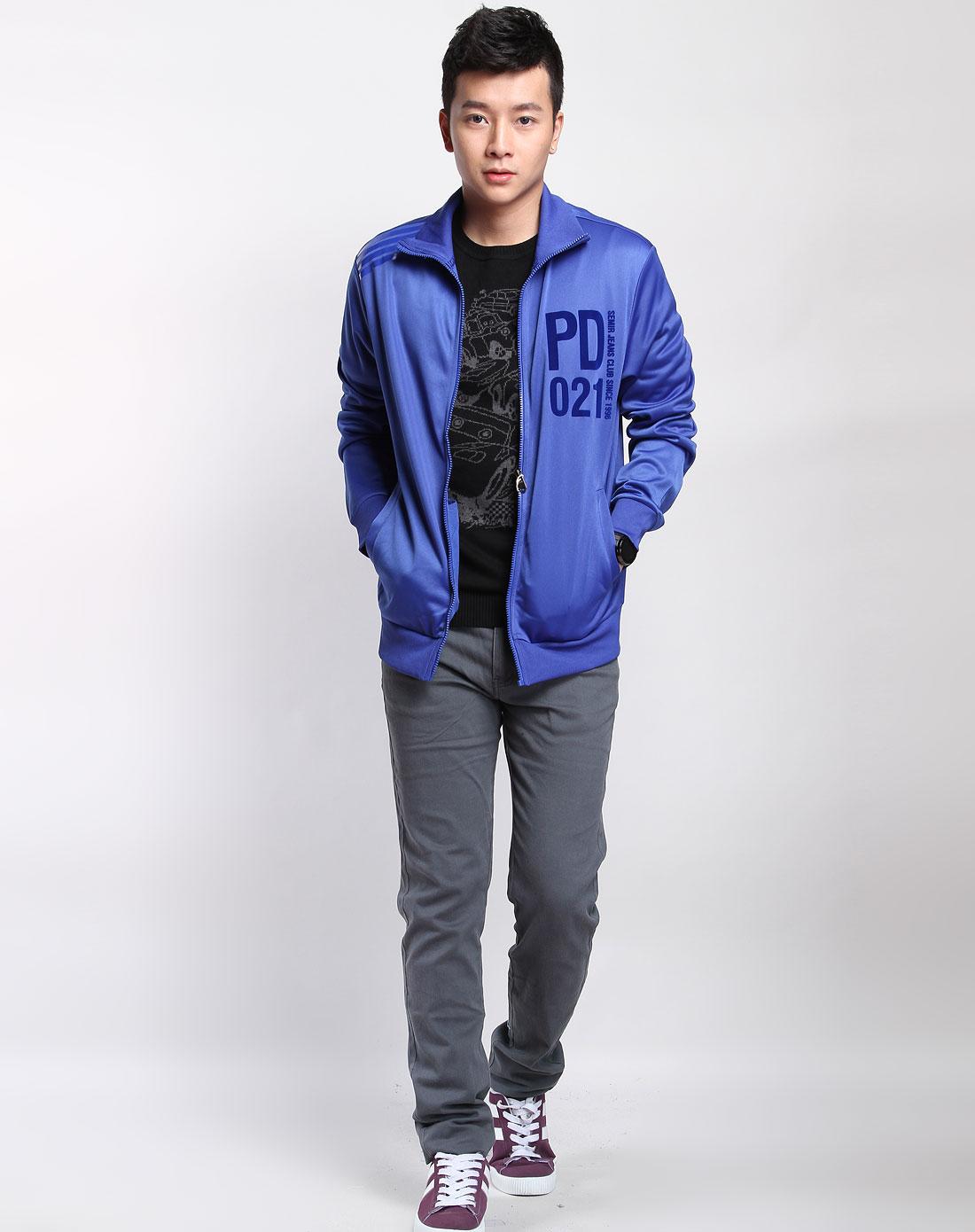 森马男装专场-深蓝色植绒印字长袖针织外套图片