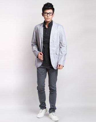 森马男装专场-浅灰色休闲长袖西服外套图片