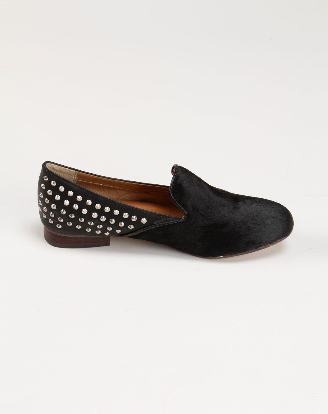pinkyrose女款黑色铆钉平跟单鞋1213990