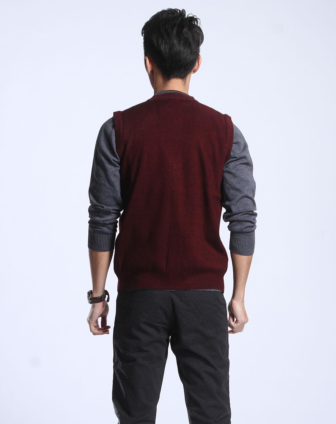 昊意男士专场-暗红色格纹针织背心