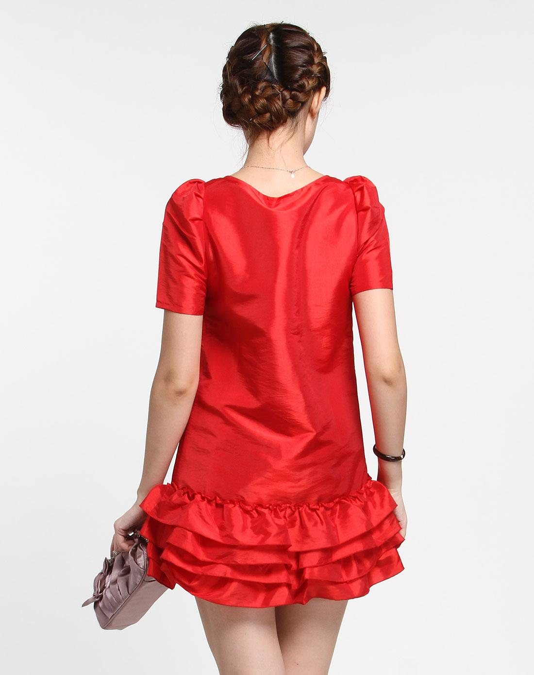 遇见uian大红色欧式泡短袖连衣裙a6s8634