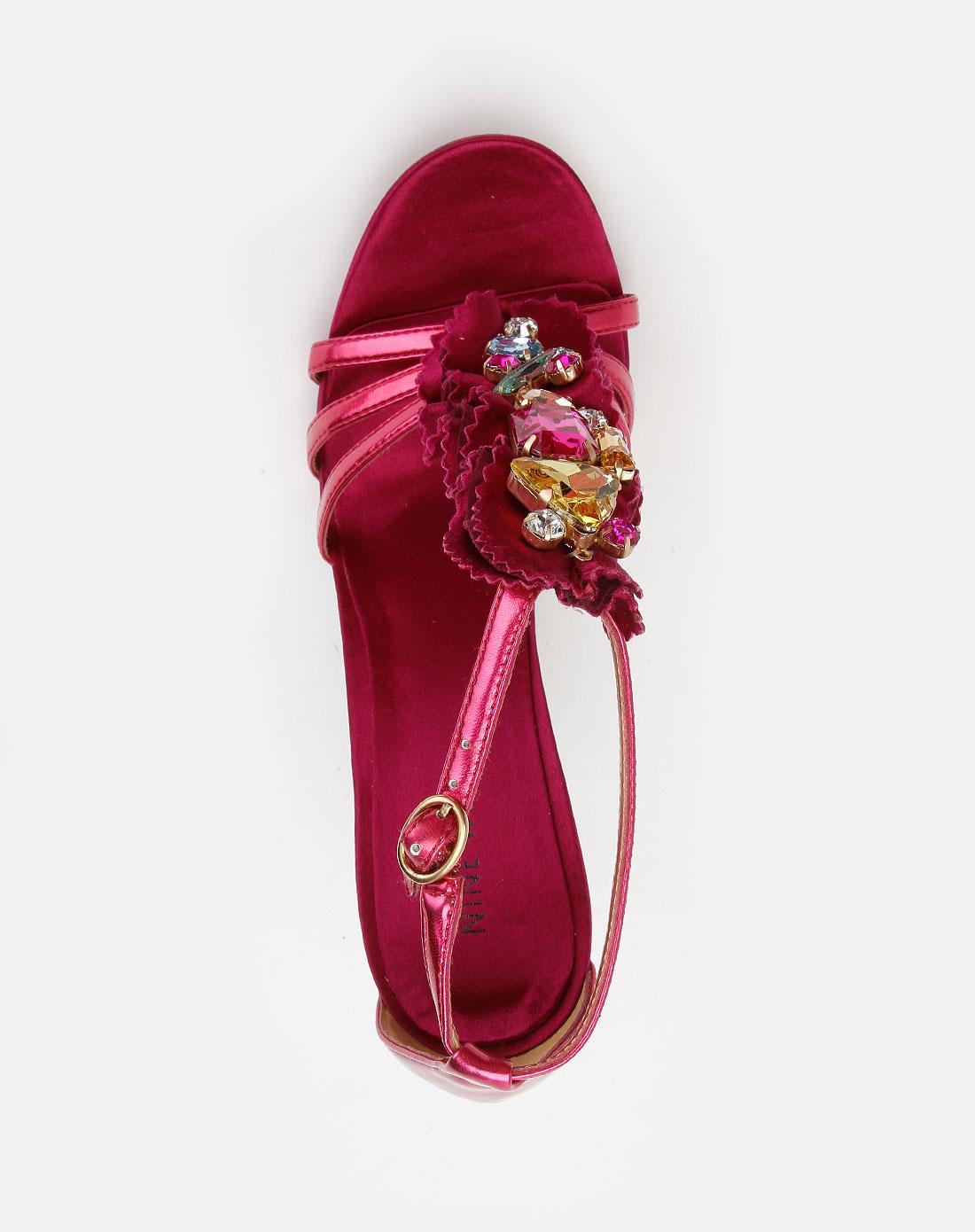 女款玫红色钉仿钻高跟凉鞋