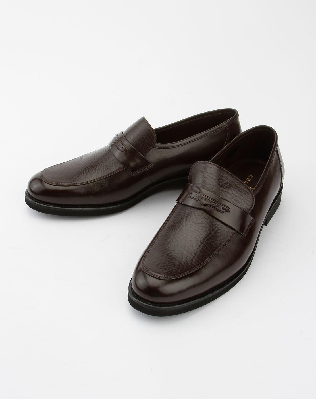 夏利豪charriol男款深咖啡色商务皮鞋02161108