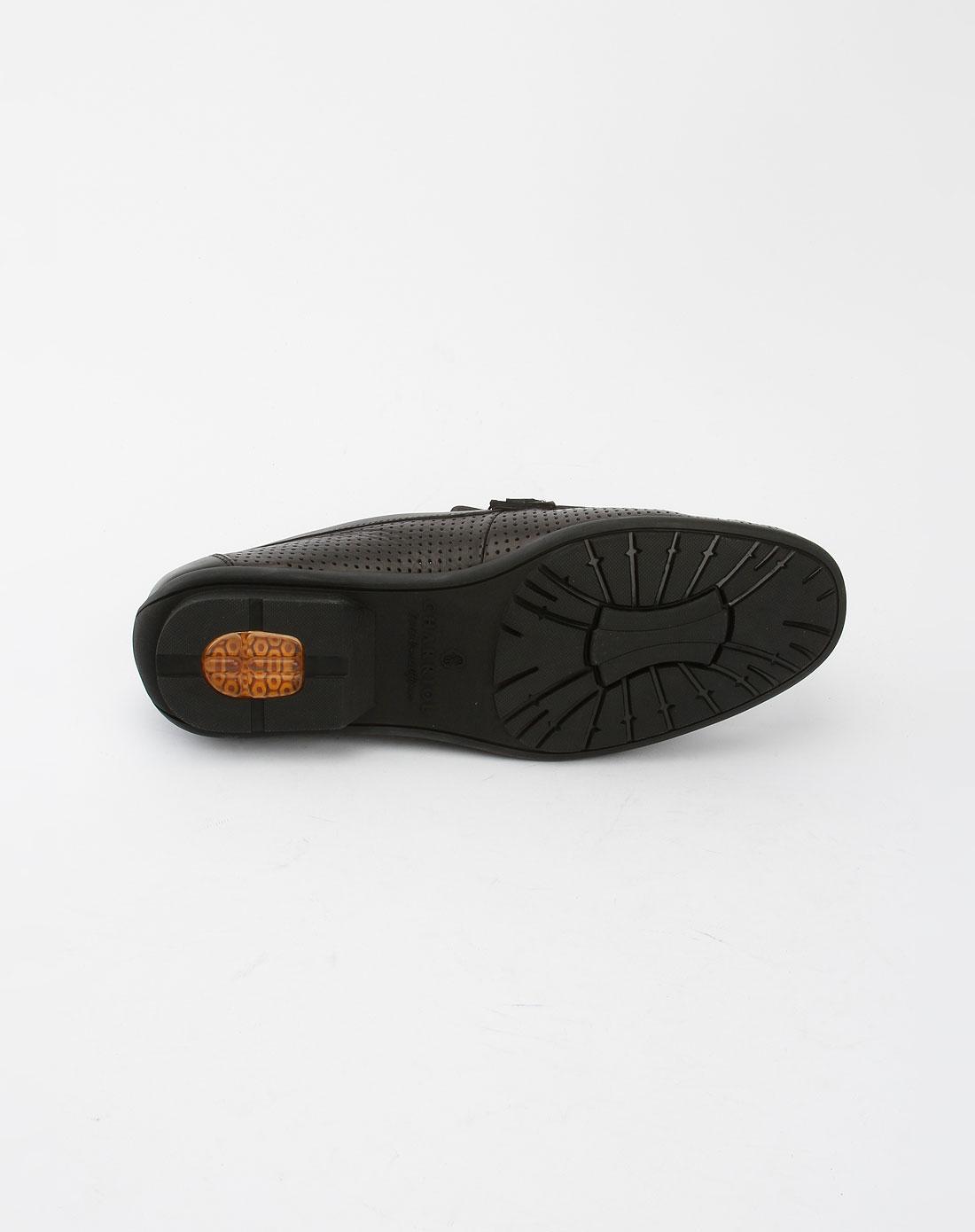 夏利豪charriol男款黑色时尚穿孔皮鞋17223622