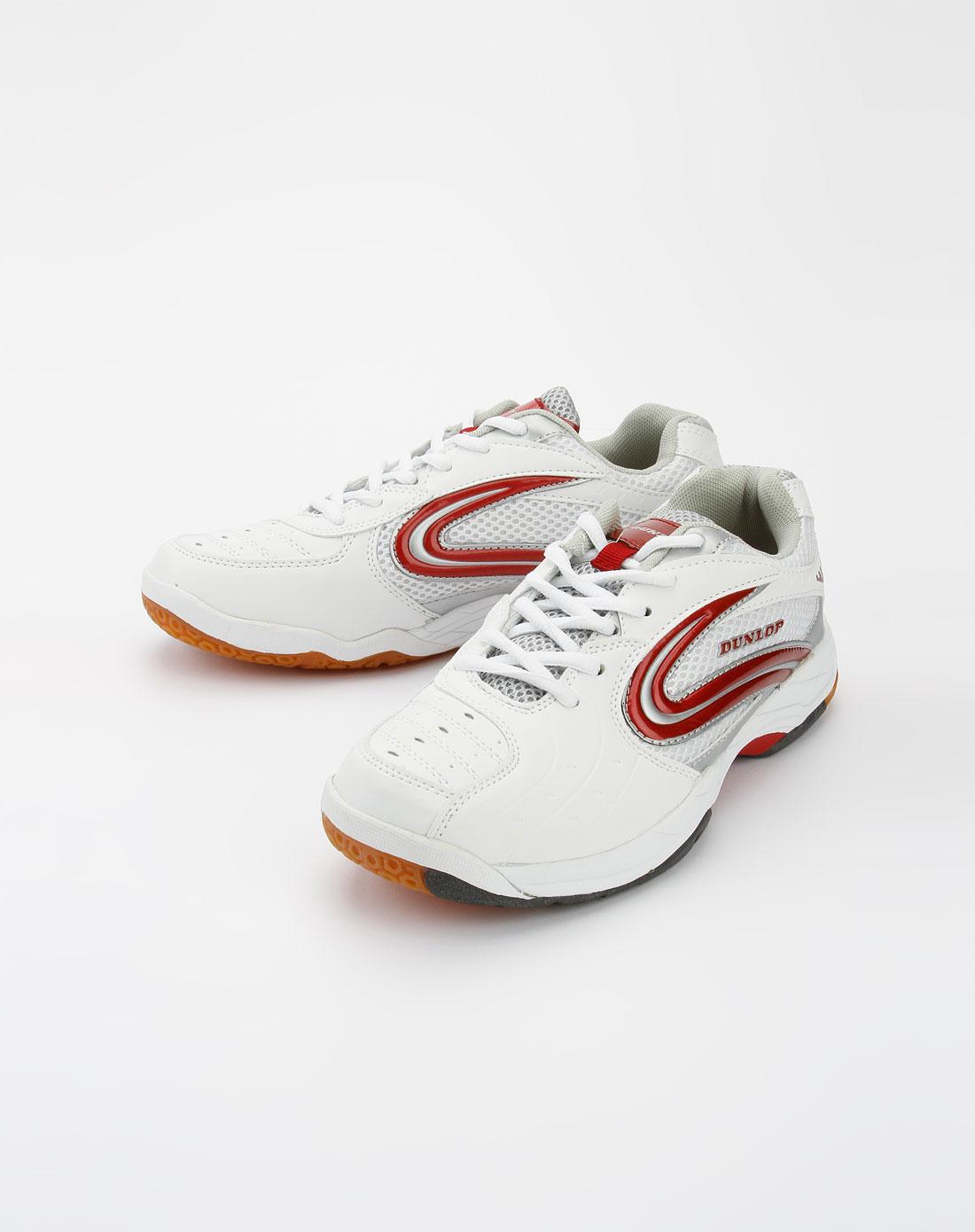 白酒红色绑带羽球鞋