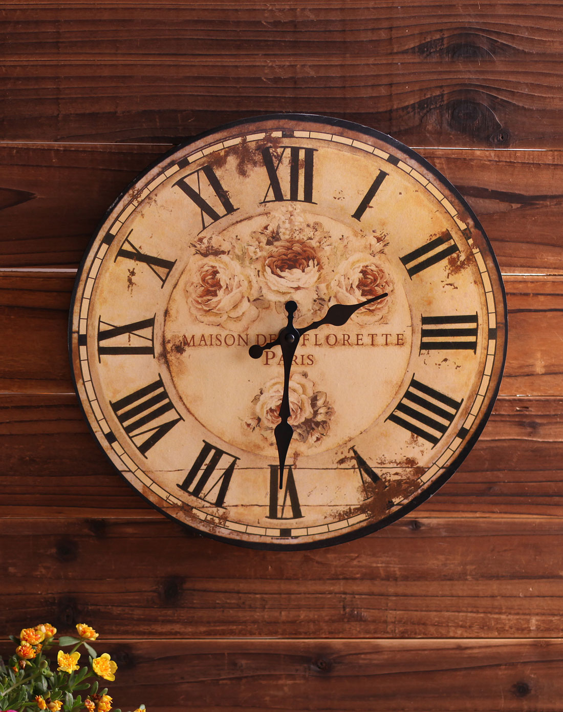欧式复古田园玫瑰木制时钟