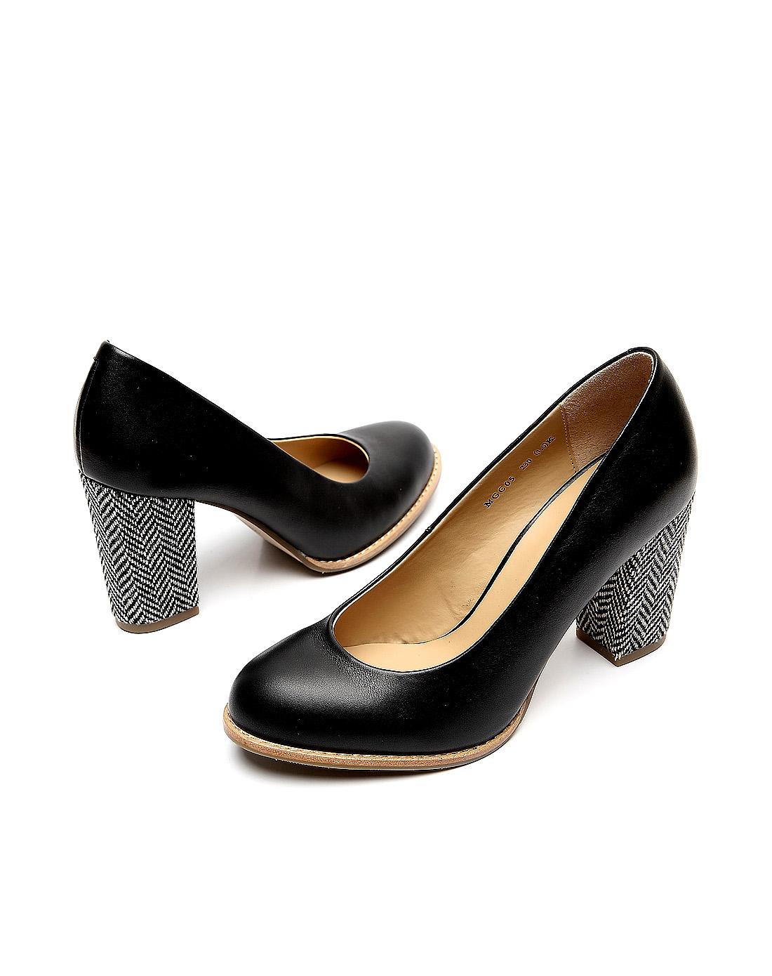 百丽belle黑色简约粗跟鞋bblmgc05du8cq2
