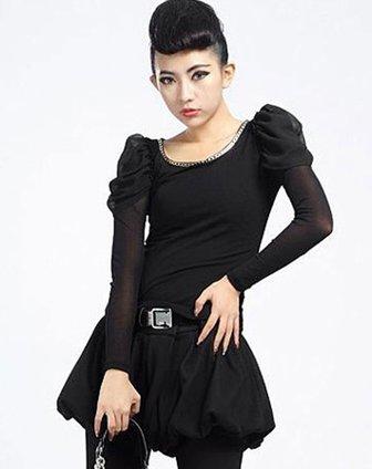 贝茜bessie女黑色韩国网配雪纺袖弹力上衣bs11at
