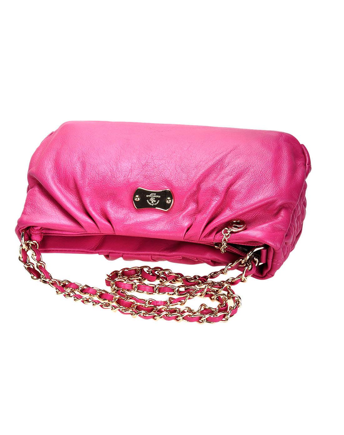 圣大保罗女包紫红色牛皮手提包wb11104-029