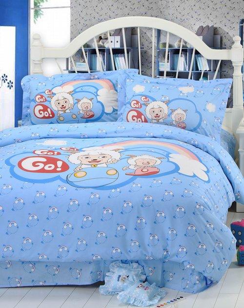 浅蓝色彩虹桥床单三件套