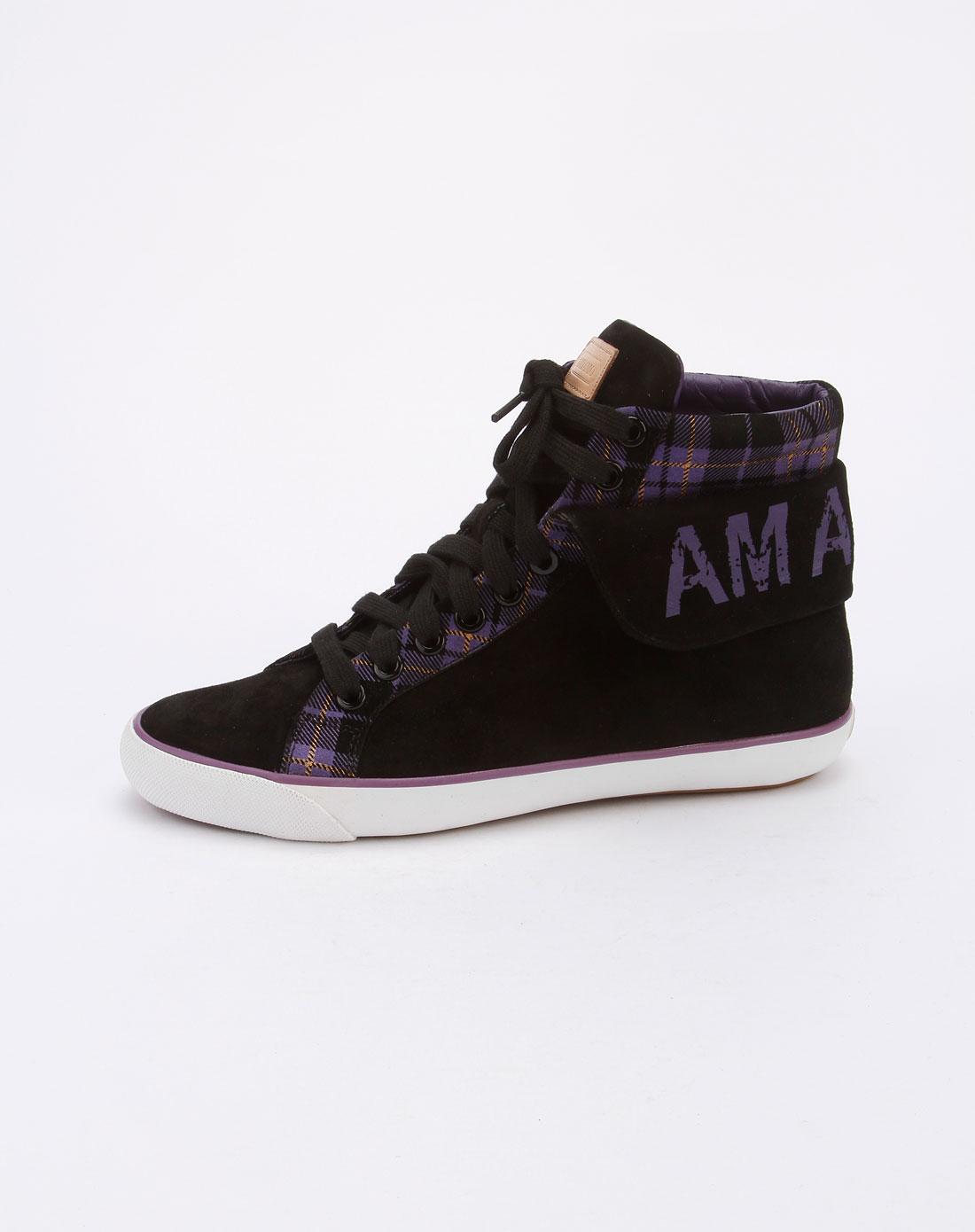 amiamo女款黑/紫色系带高邦休闲鞋2113e1bb253-96