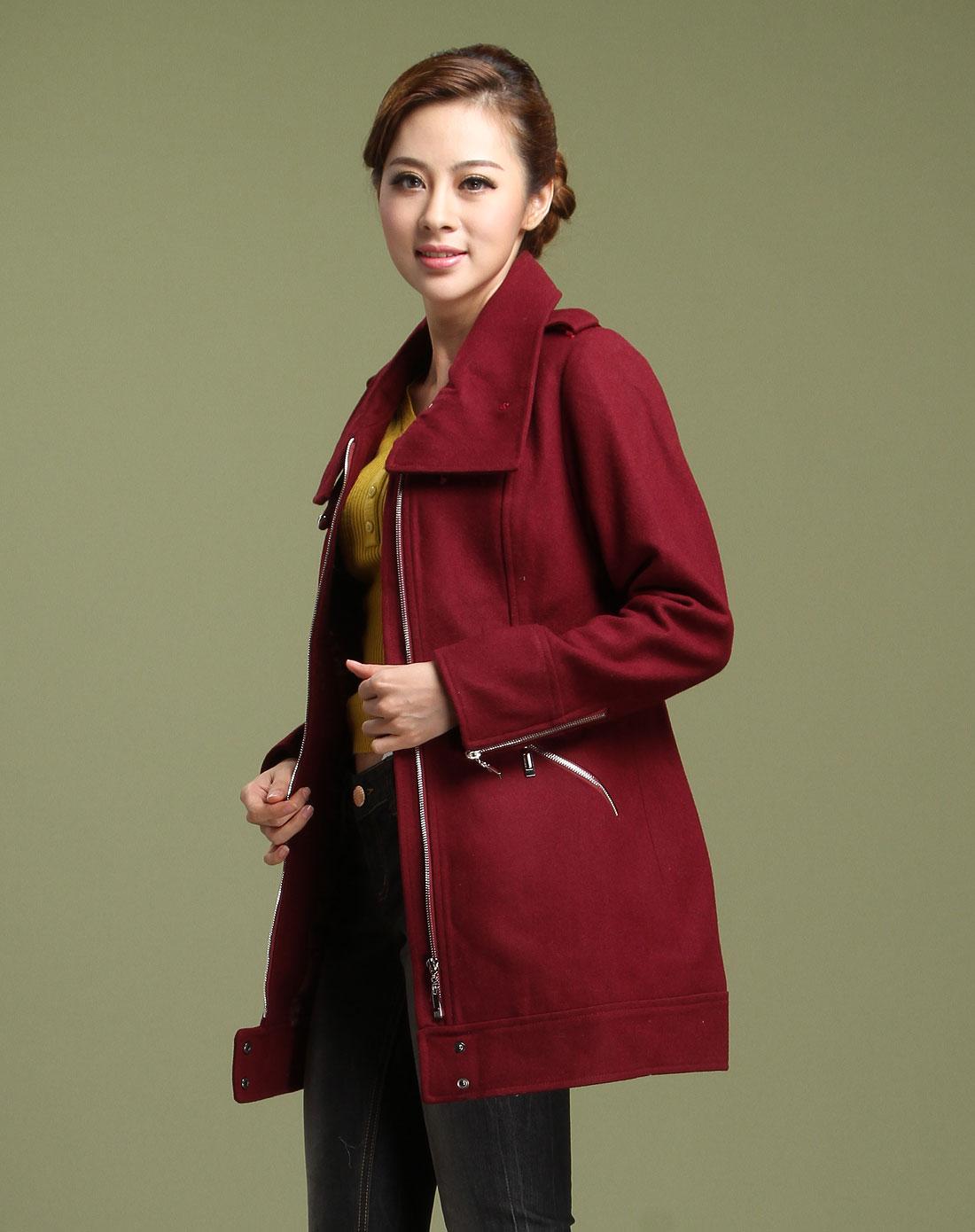 衣香丽影枣红色简约时尚长袖大衣118809115