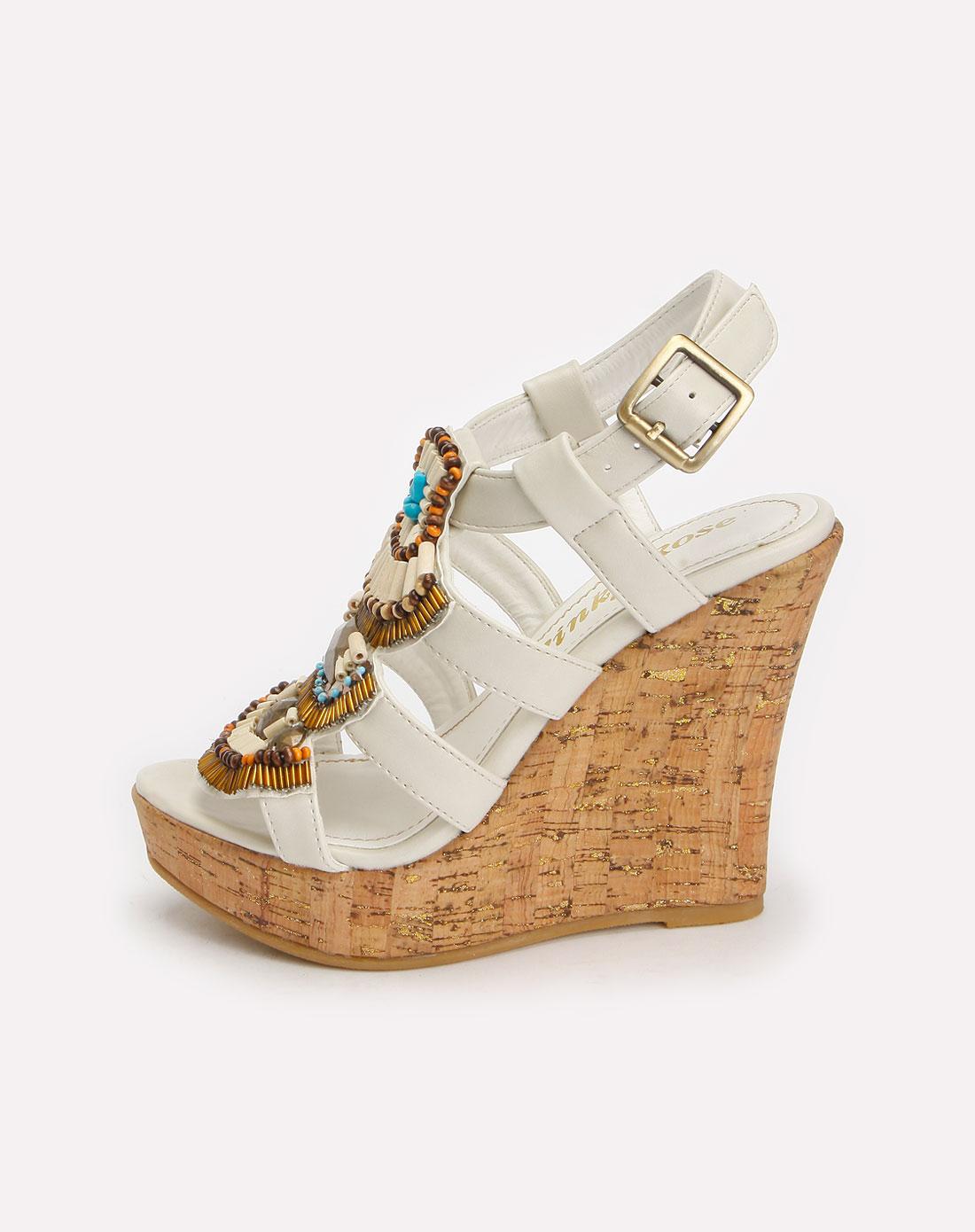 白色波西米亚复古坡跟凉鞋