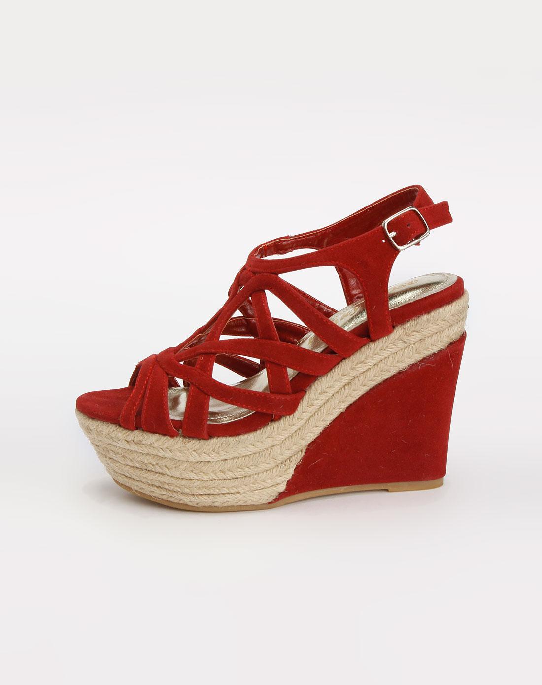 深酒红色网状鱼嘴坡跟凉鞋