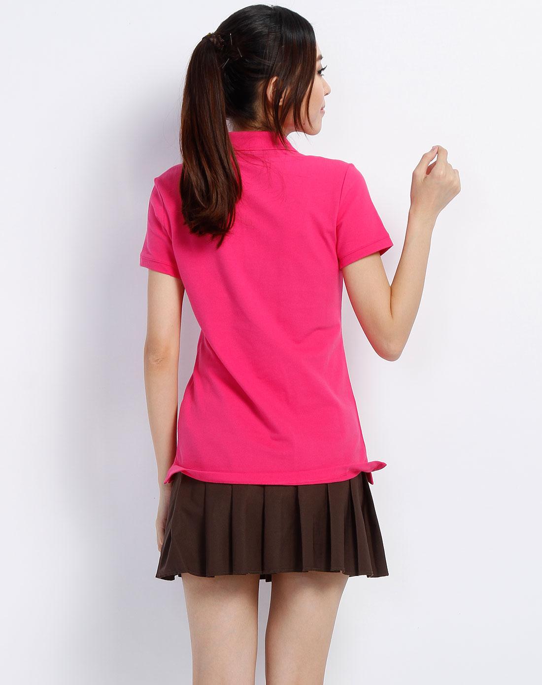 玫红色翻领短袖t恤_耐克nike-女装专场特价
