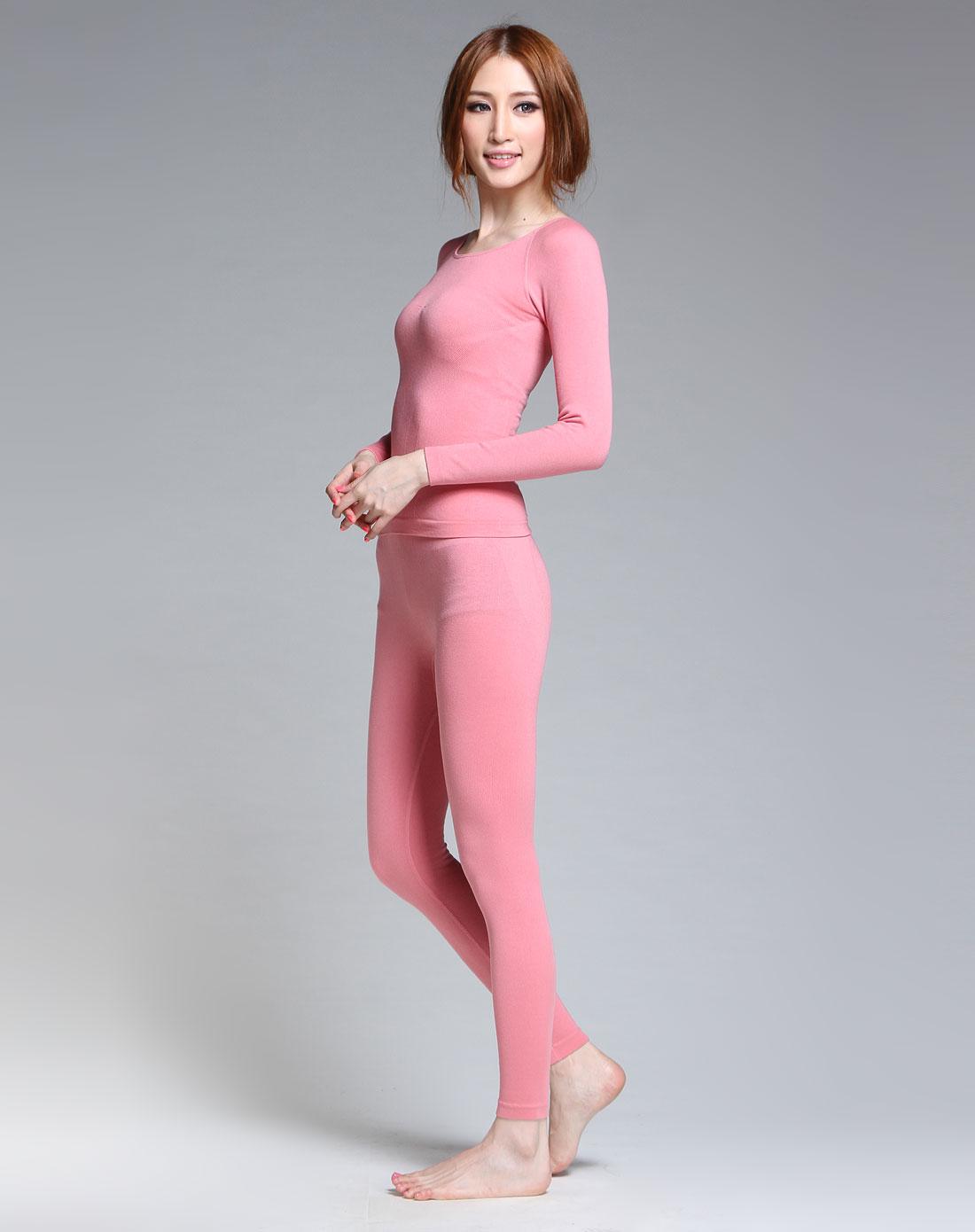 粉红色纤暖美体长袖内衣套装