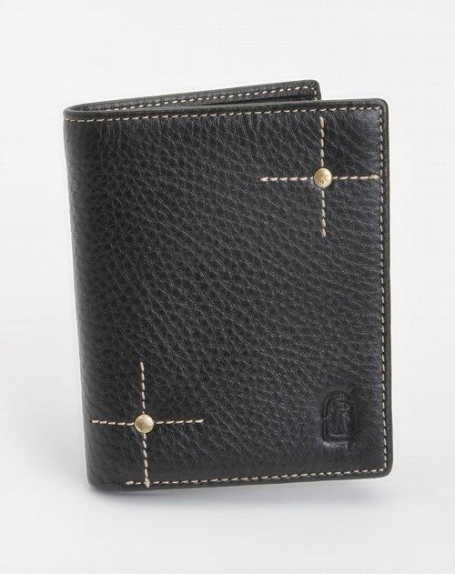 中性黑色十字绣钱竖式钱包