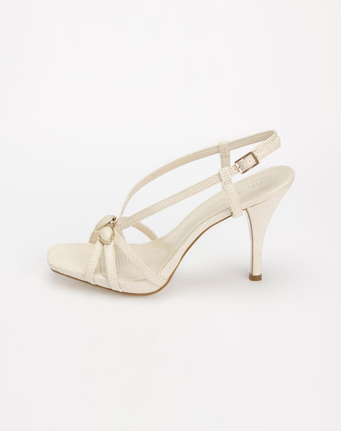 米白色时尚高跟凉鞋