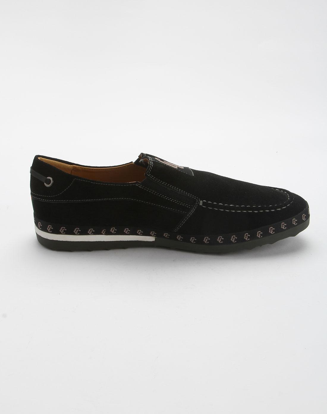 皇冠crown男款黑色时尚休闲鞋1a570002