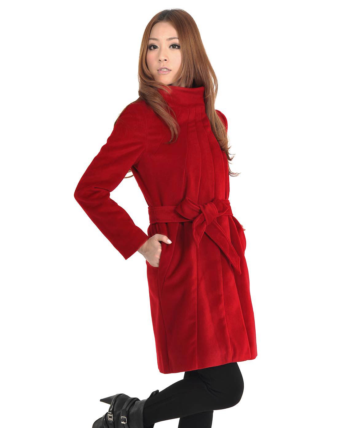 sa红色韩版长款外套毛呢大衣sd9080240
