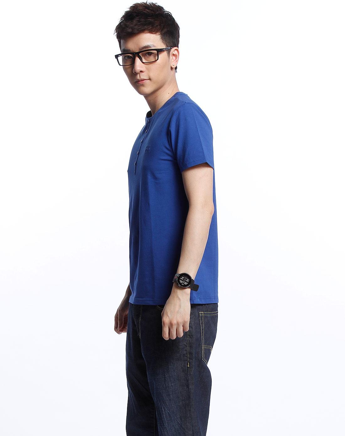 ampm男士深蓝色圆领短袖t恤