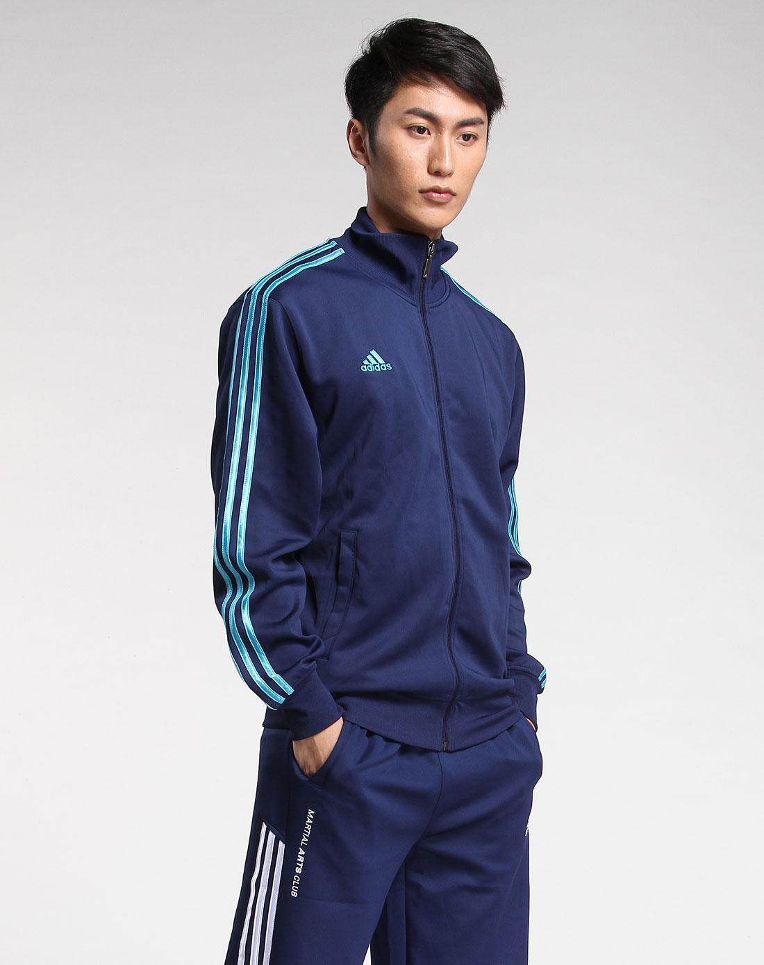 [ 阿迪达斯 ] 男款深蓝/浅蓝色时尚长袖礼盒装运动服