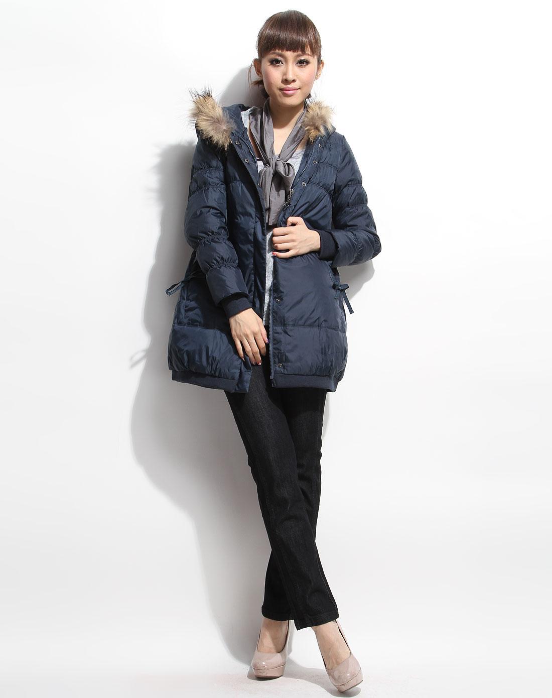 [ 雁皇 ] 深暗蓝色时尚连帽长款长袖羽绒外套