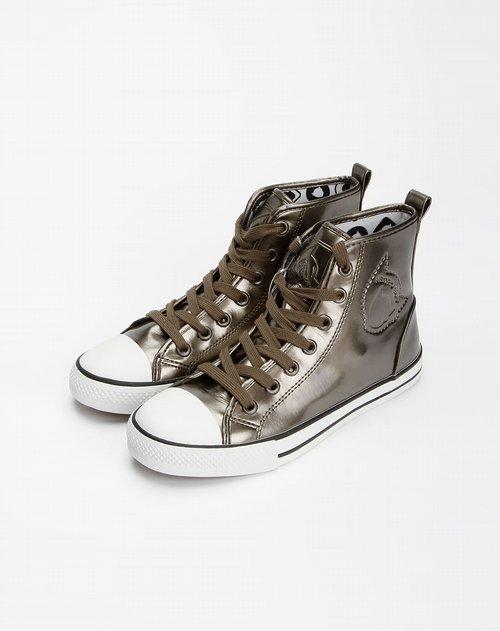 boy银色漆皮压印高帮鞋