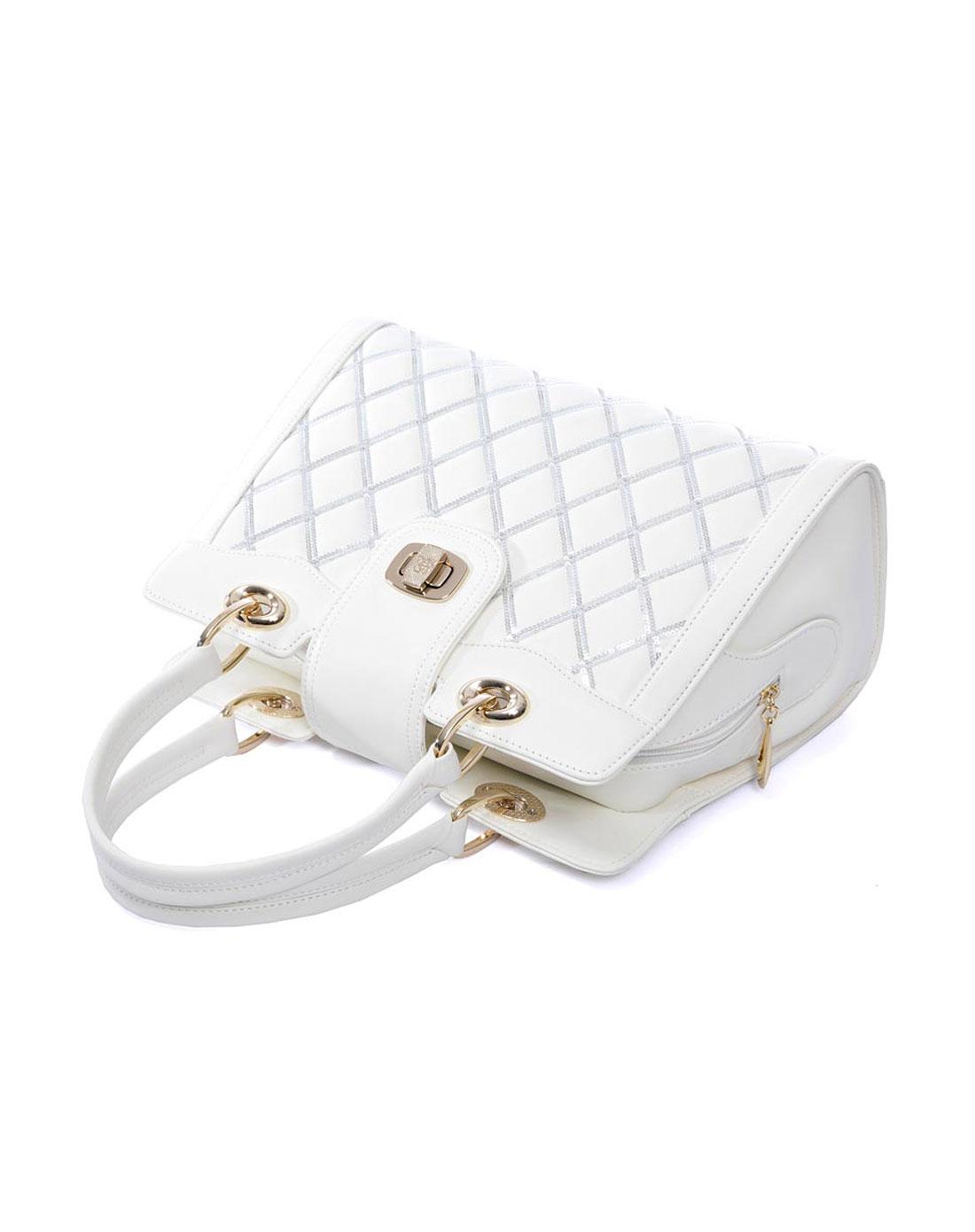 女款白色袋鼠ol时尚真皮包