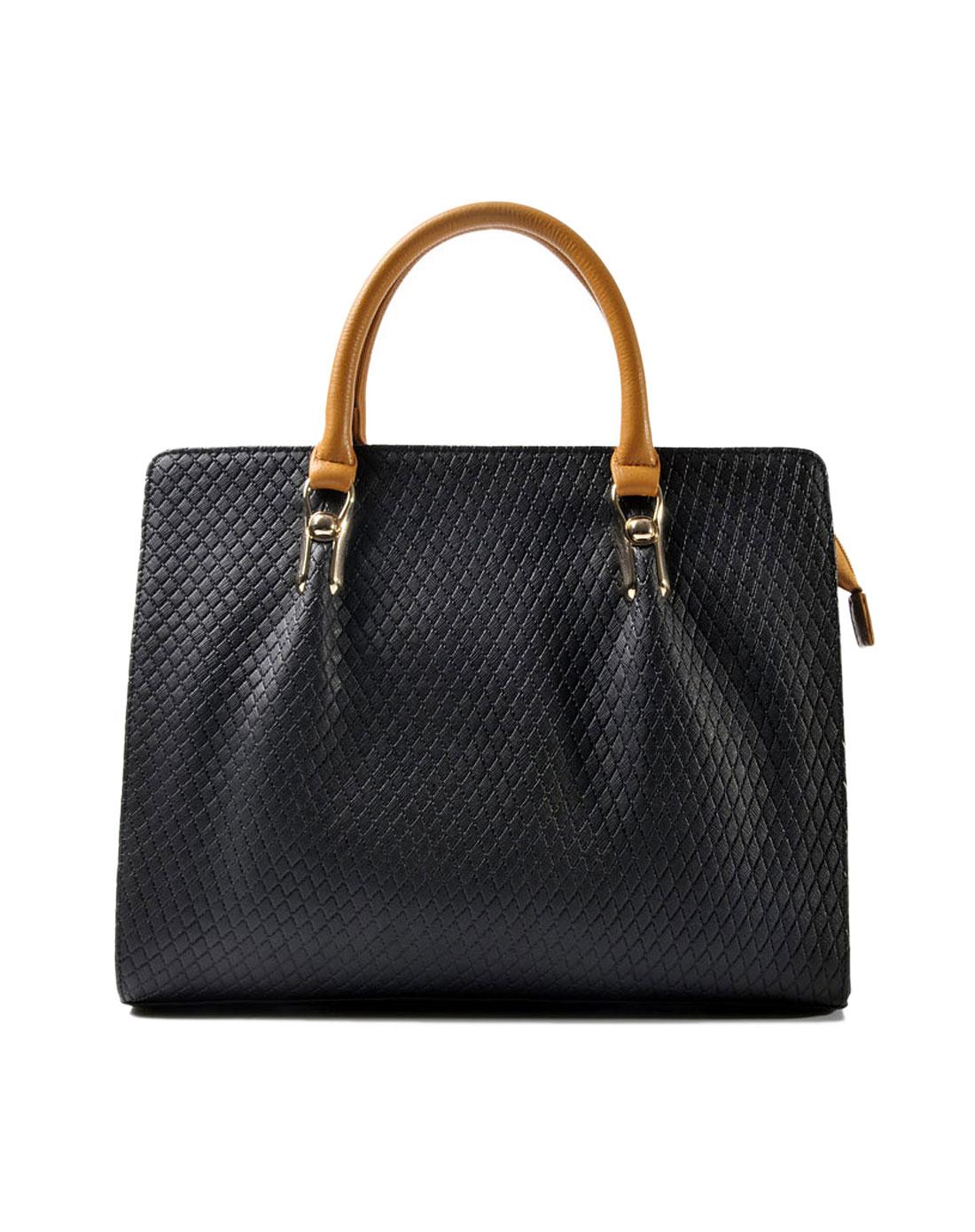 女款黑色袋鼠ol时尚真皮包