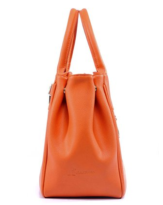 女款橙色袋鼠ol时尚真皮包
