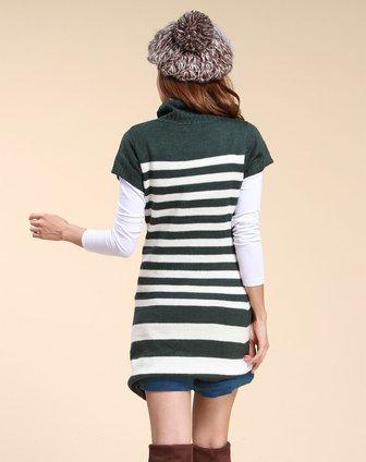 墨绿色条纹淑女短袖连衣裙